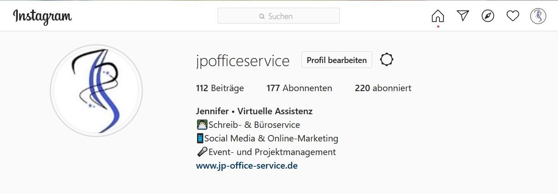 Instagram Profil JP-Office-Service